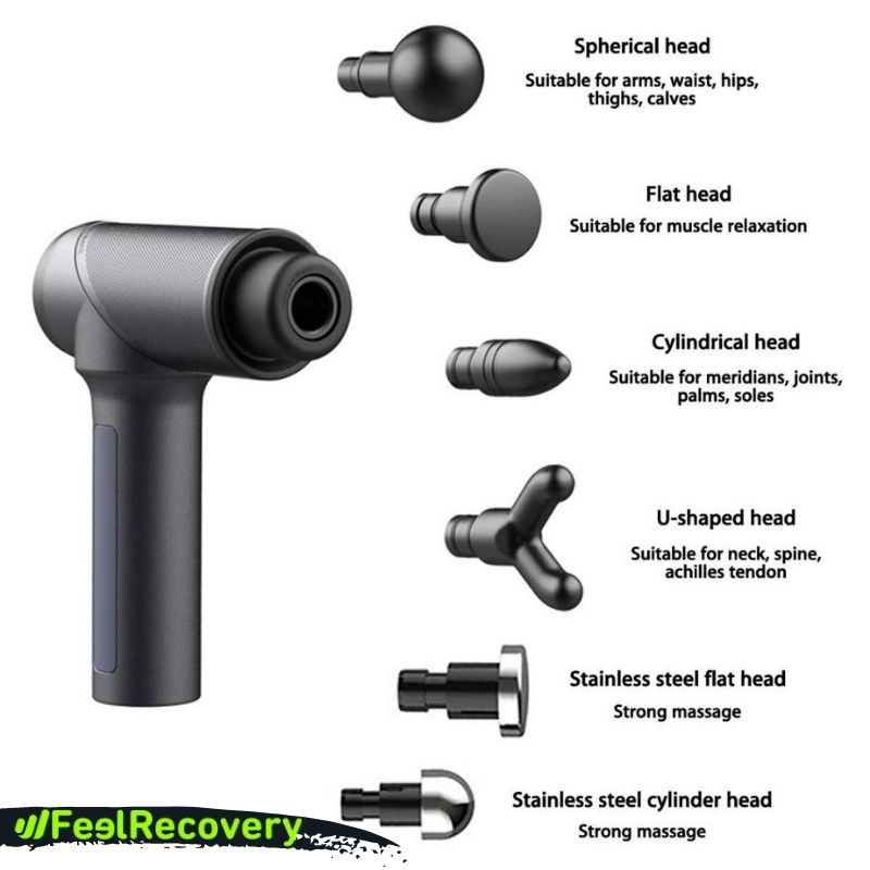 What types of heads do massage guns have and what is each one used for?