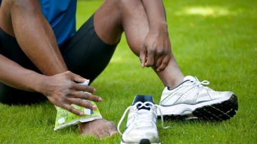 How do you use ice gel packs to help recovery from inflammation in sports injuries?