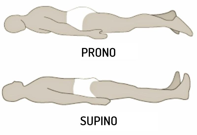 postura de decúbito supino o decúbito prono