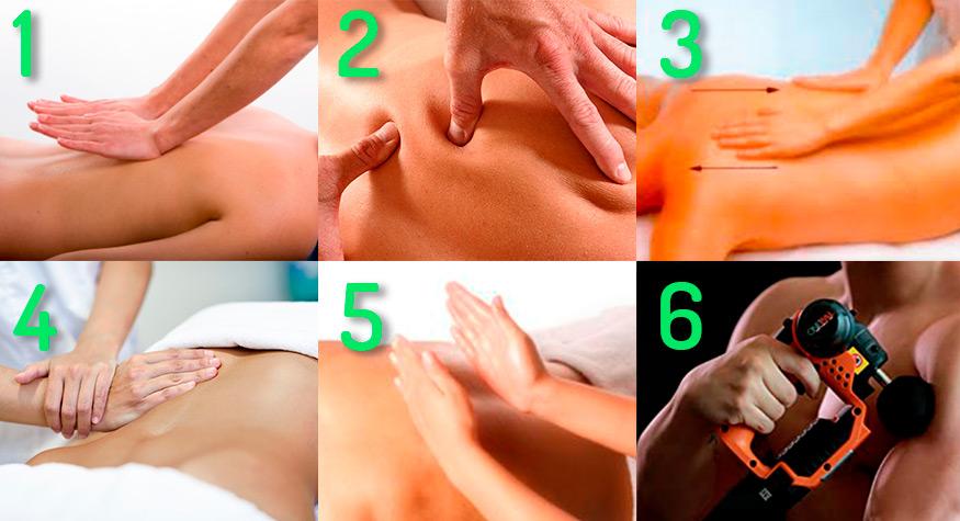 Types of massage manoeuvres