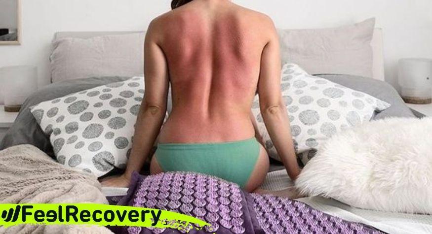 Marcas en la espalda de la esterilla de acupresión